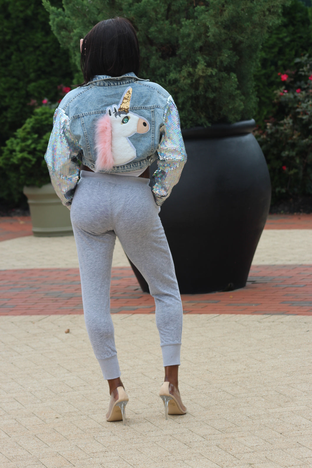 Unicorn Glam Denim Crop Jacket