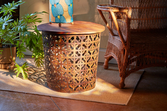 Rustic Cross Pattern Outdoor Metal Drum Table with Reclaimed Wood Top