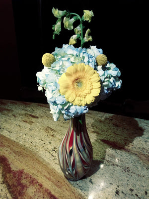 Artisan Handblown Glass Swirl Fluted Vase