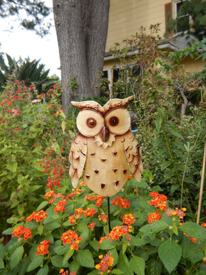 Gazing Owl Metal Art Garden Stake