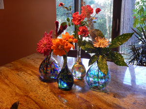 Shimmering Handblown Glass Artisan Bud Vase - 2 color options