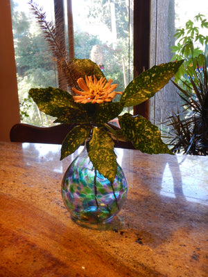 Handblown Glass  Designer Flower Vase - 2 color options