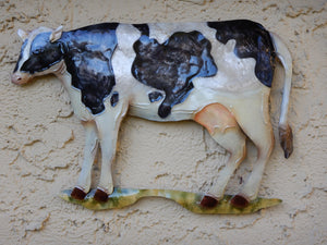 Hanging Black and White Metal Cow Art