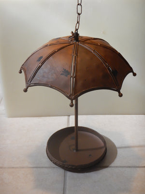 Weathered Bronze Umbrella Hanging Bird Feeder