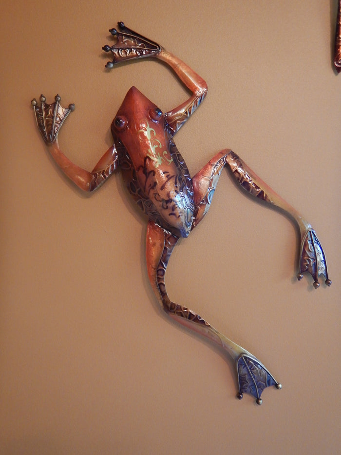 Large Hanging Metal Art Frog