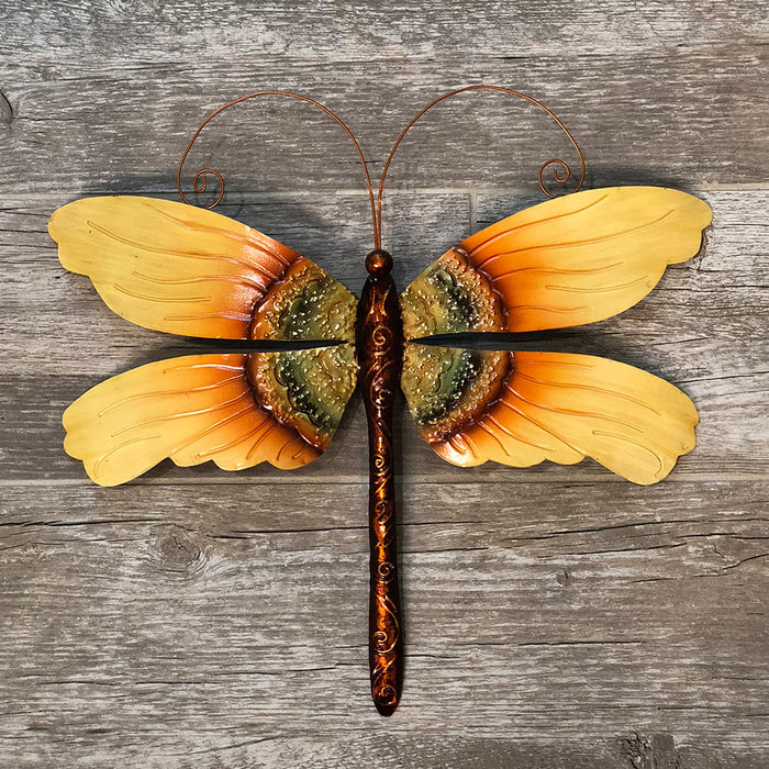 Dragonfly Sunflower Metal Art Wall Decor