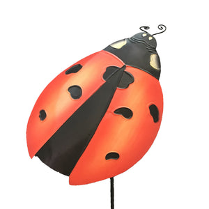 Lady Bug Metal Art Garden Stake