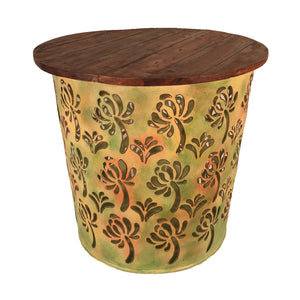 Green Palm Pattern Outdoor Metal Drum Table with Reclaimed Wood Top