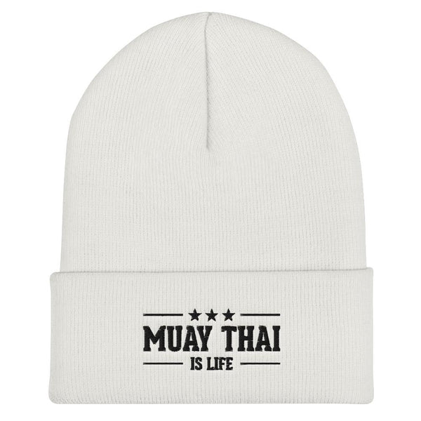 Bonnet Muay Thaï is Life BU-MT12 Blanc