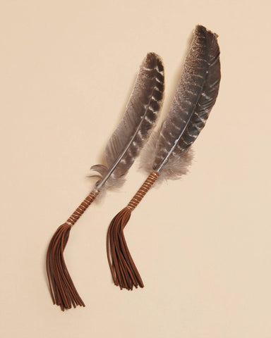 Liv Rocks - Leather Wrapped Smudge Feather - Turkey Barred Feather
