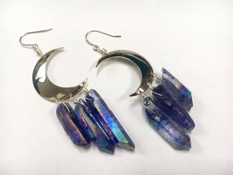 Odyssey & Oddities - Periwinkle Quartz Silver Crescent Crystal Earrings