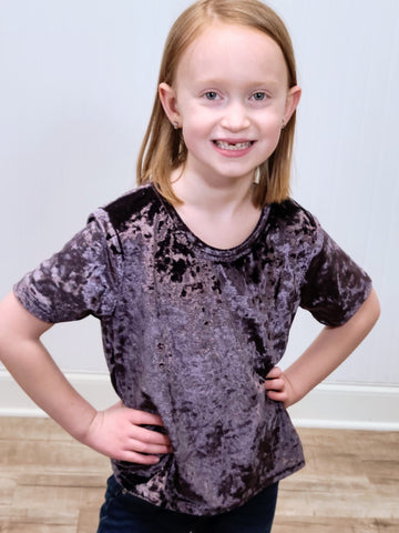 Girls Crushed Velvet Top