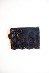 Miss Rose Sister Violet - Black Satin & Lace zip bag