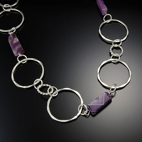 Silver Plated Link Necklace with Semi-Precious Stones