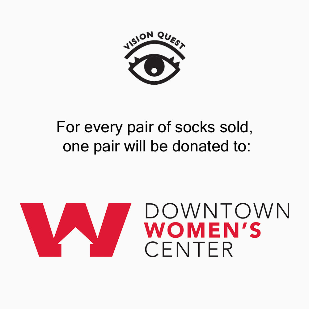 tie dye sock donation to the downtown womens center