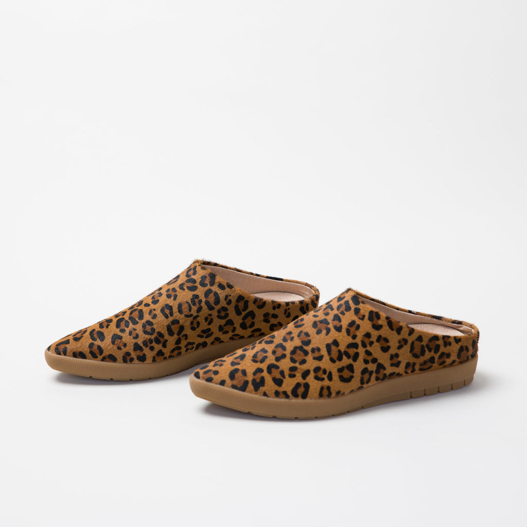 Leopard hair on cow babouche Sneaker Mule Salvaged leather upper,  leather lined, memory foam, removable footbed, spirit animal, restorative footwear