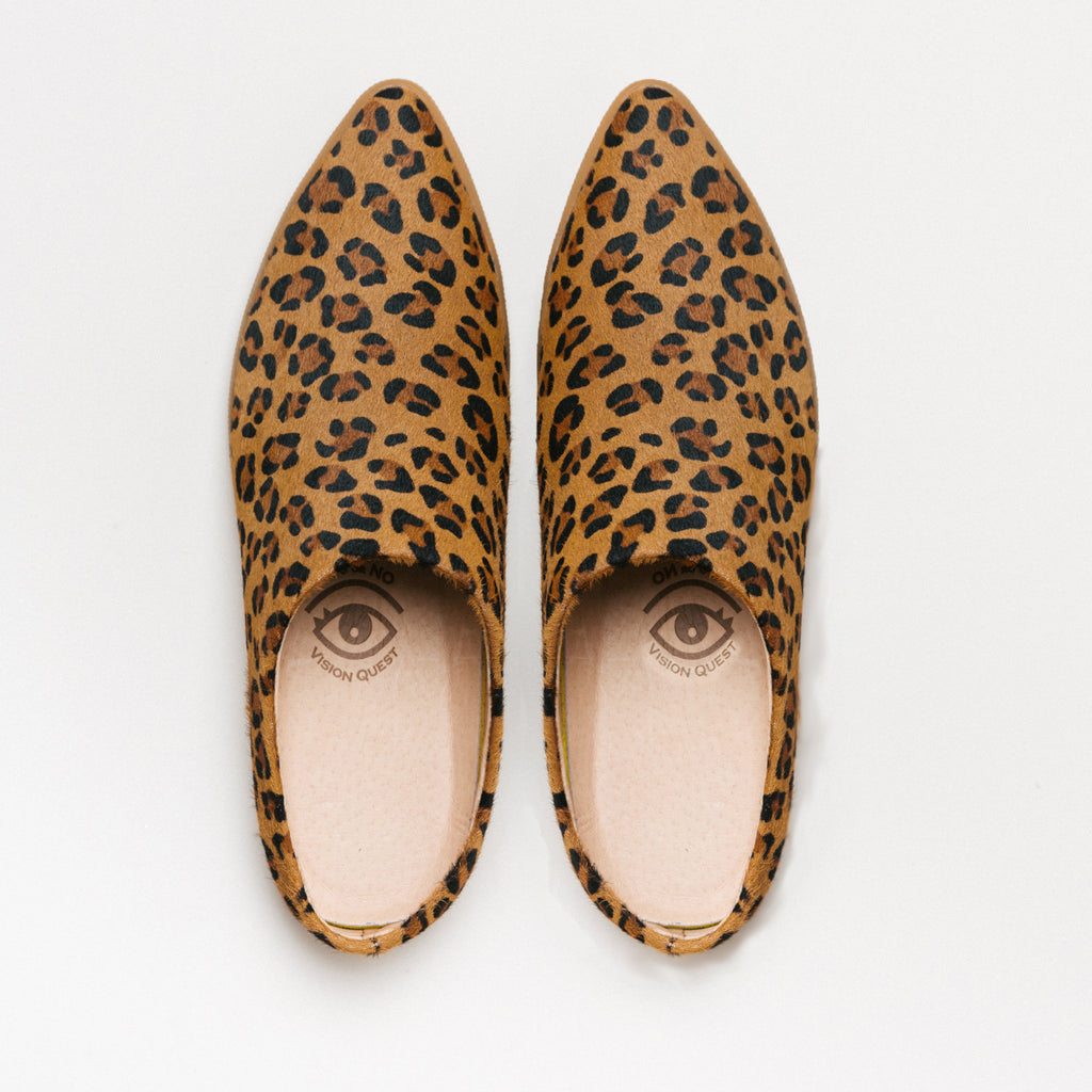 Leopard hair on cow, babouche Sneaker Mule Salvaged leather upper, animal print, leather lined, memory foam, removable footbed, spirit animal, restorative footwear