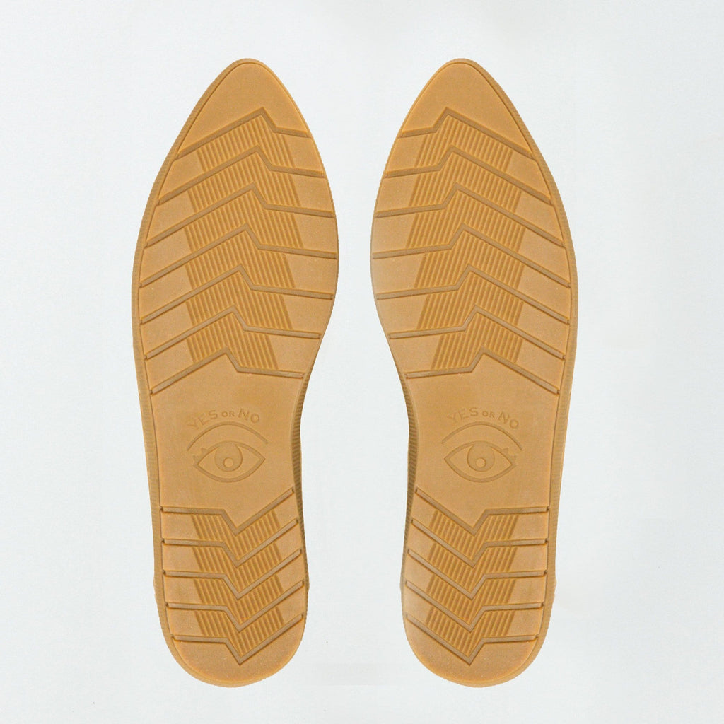 Bottom view of the bouncy rubber outsole in gum color, outsoles have tread patterns and one eye on each shoe creating a pair of eyes together.