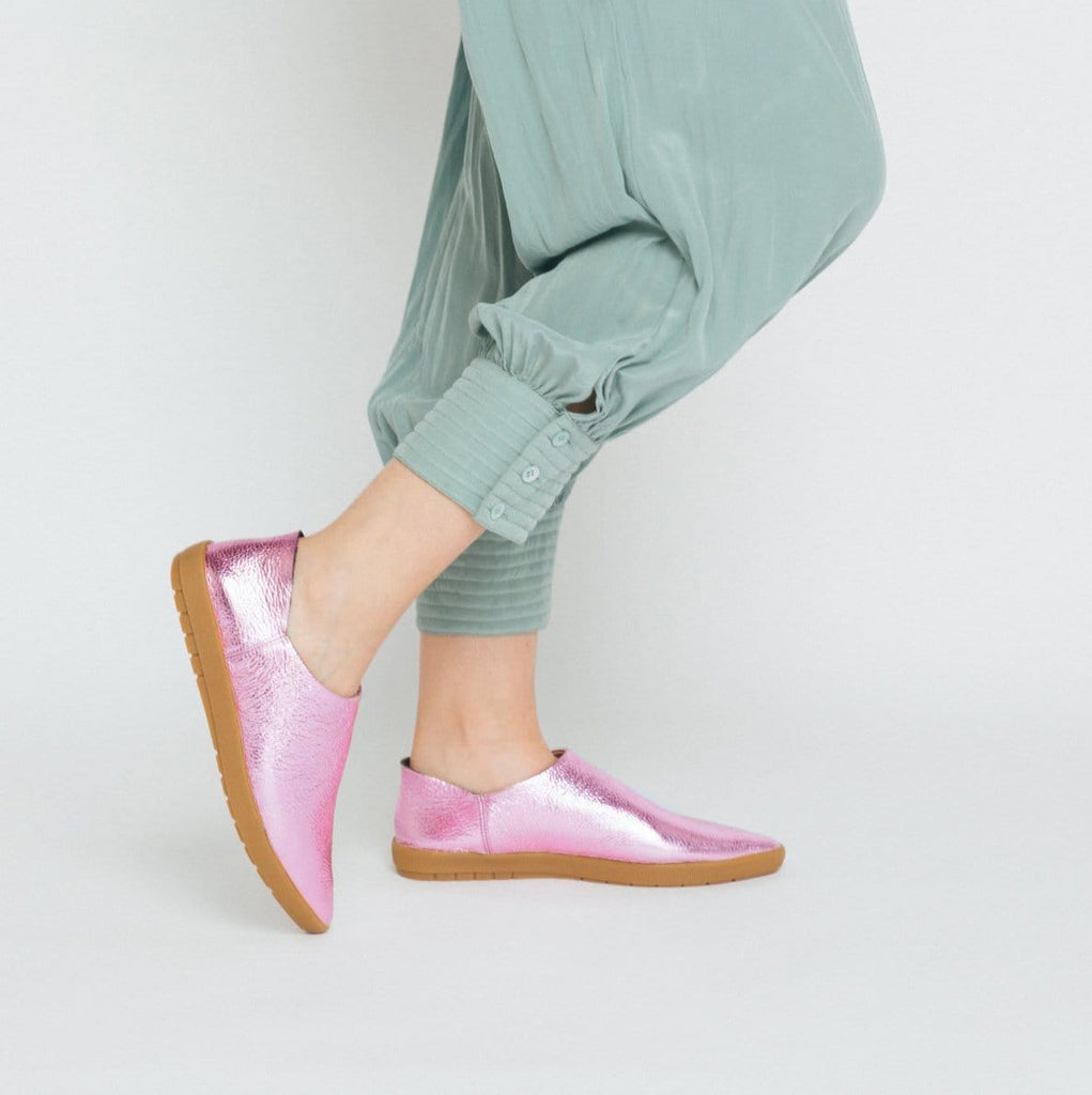 Pink Prism, pink metallic,, pebble grain leather, babouche Sneaker, back heel counter, worn up or down, Mule, Salvaged leather upper, leather lined, memory foam, leather sock, removable footbed, molded rubber outsole, restorative footwear