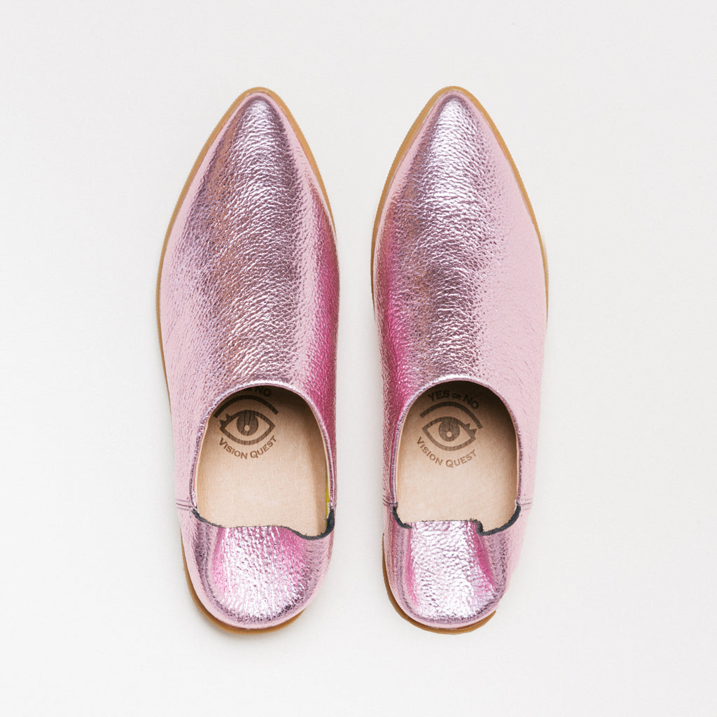 Pink Prism, pink metallic, pebble grain leather, babouche Sneaker, back heel counter, worn up or down, Mule, Salvaged leather upper, leather lined, memory foam, leather sock, removable footbed, molded rubber outsole, restorative footwear