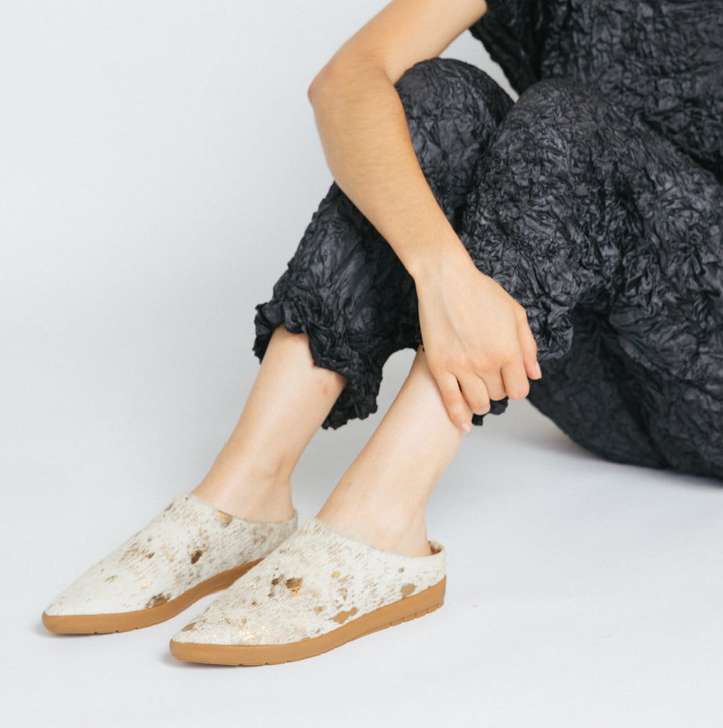 Painted Gold hair on calf Babouche Sneaker Mule Salvaged leather upper,  leather lined, memory foam footbed