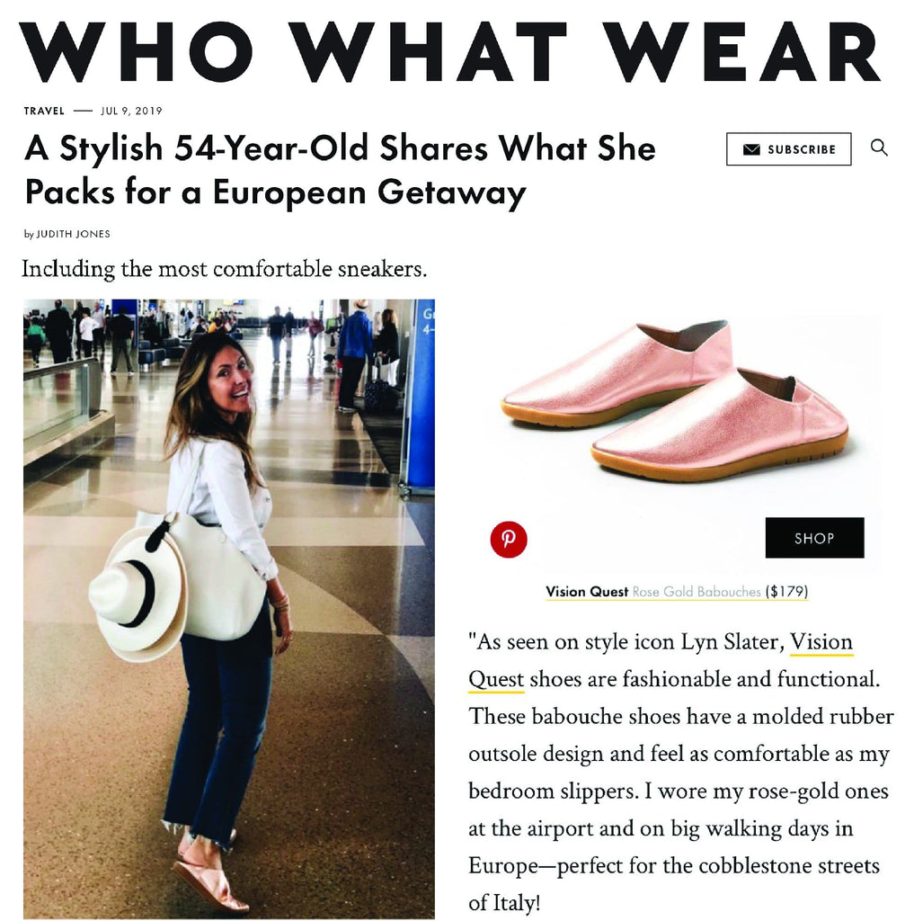 Vision Quest Shoes Rose Gold leather babouche shoes featured in online fashion magazine whowhatwear.com, recommended as the perfect shoes for traveling.