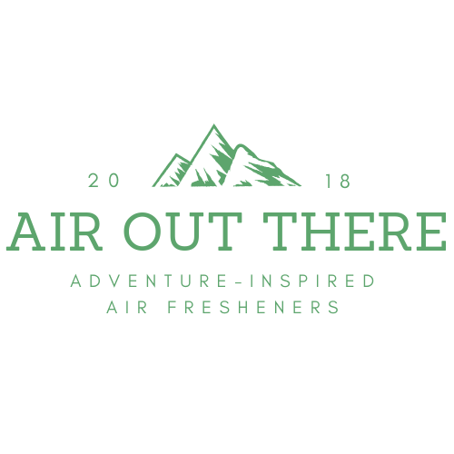Air Out There logo, green, white, sierra, mountain