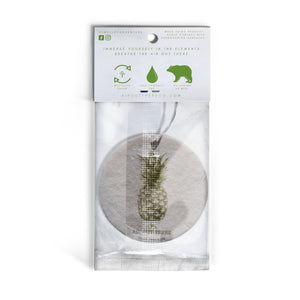 Pineapple, car air freshener, white, green, yellow. Recycled paper, eco-friendly.