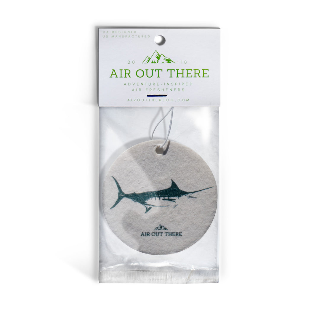 Marlin, swordfish, car air freshener, Air Out There, white, green, blue. Recycled paper and eco-friendly ink.