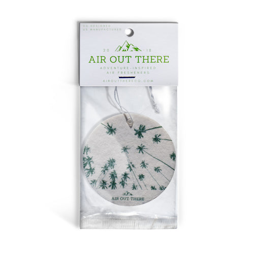 Pineapple scent, palm trees, car air freshener, Air Out There, white, green. Recycled paper, eco-friendly ink.