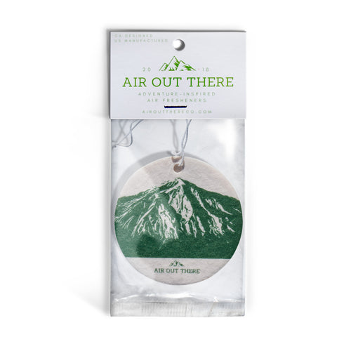 Pine scent, sierra, mountain, car air freshener, Air Out There, white, green. Recycled paper and eco-friendly ink.