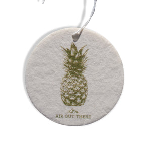 Pineapple, car air freshener, white, yellow. Recycled paper, eco-friendly.
