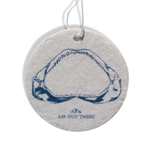 Mako shark, jaws, car air freshener, Air Out There, white, blue. Recycled paper, eco-friendly ink.