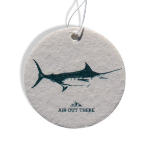 Marlin, swordfish, car air freshener, Air Out There, white, blue. Recycled paper and eco-friendly ink.