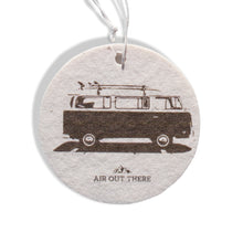 Volkswagen bus, VW, coconut scent, car air freshener, Air Out There, white and brown. Recycled paper and eco-friendly ink.