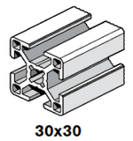 30x30mm Aluminum Extrusions; Square with T-slots; Bosch Rexroth MGE
