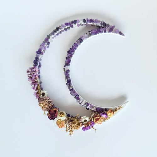 Amethyst & Floral | Crescent Moon | Love, Maddy