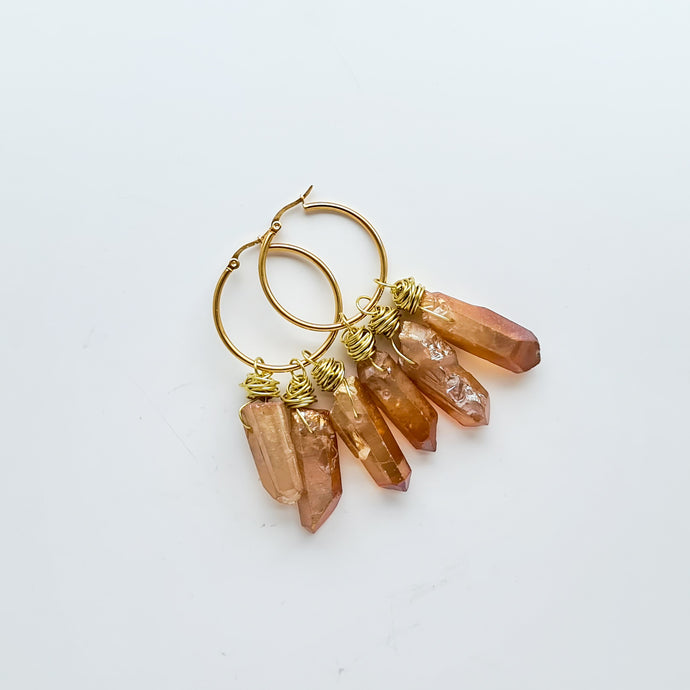 Champagne | Quartz Hoop Earrings | Love, Maddy