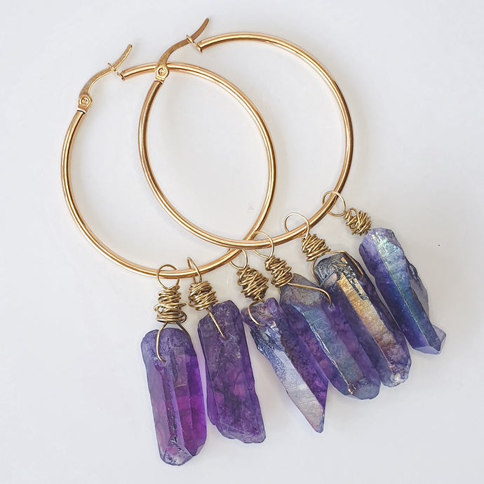 Purple | Quartz Hoop Earrings | Love, Mady