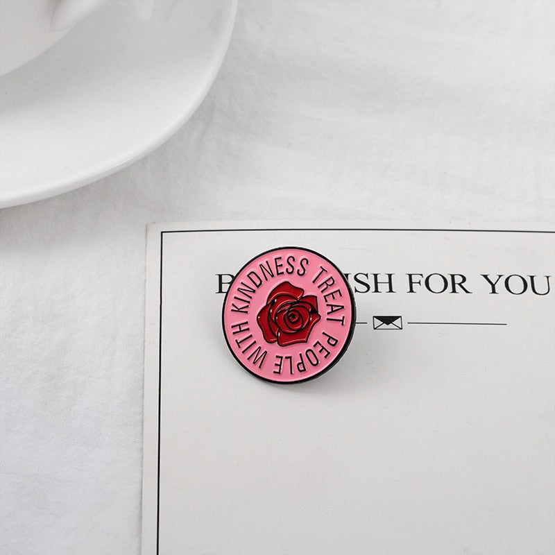 Treat people with kindness - Pink Round with Flower Metal Pin Button