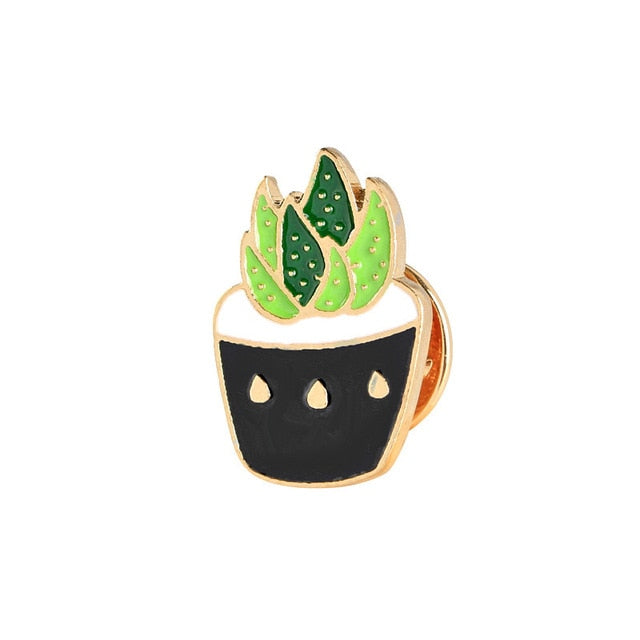 Cactus Brooches Cute Mini Plant Pot - Metal Badge Button Brooches