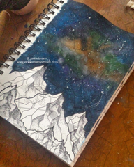 dotwork mountains with galaxy sky sketch page