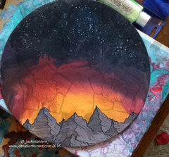 abstract sunset mountain painting