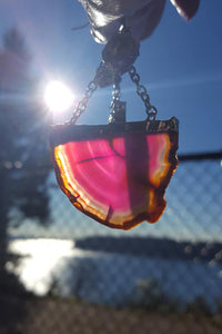 2 Tiered Holographic Gem & Pink Agate Earrings