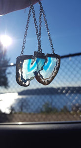 Raw Edge Blue Agate Earrings