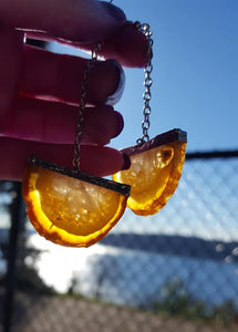 Orange/White Agate Earrings
