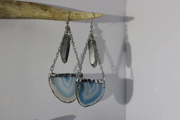 2 Tiered Grey Crystal & Blue Agate Earrings