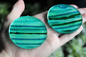Emerald Stripes - Abstract Art Circle Earrings