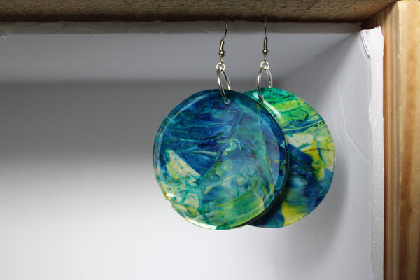 Blue Lemon - Abstract Art Circle Earrings