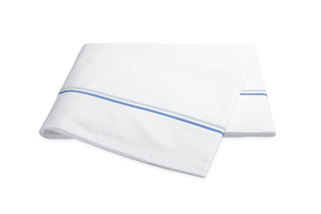 MATOUK ESSEX FLAT SHEET WITH BLUE TRIM